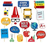 Back To School Photo Booth Props - 25Pcs Party Decoration for First Day of School Class of 2019 Welcome Back Party Classroom Reunions Kids Student Teacher Gift, Selfie Shoot Props Party Favor Supplies