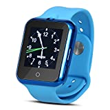 Padgene Fashion Bluetooth Camera SmartWatch with Heart Rate Monitor, Noise Reduction, Sleep Monitor, Pedometor, Automatic Wake-up and UV Intensity Test Function for Samsung Android Smartphones, Blue