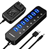 USB Hub 3.0, ELEGIANT 8 Port High Speed USB Hub,7 Data Transfer Port and a 2.4A Charging Port with Separated Switches and Lights for Computers iPhone iPad MacBook Laptop PC Mobile with Power Adapter