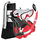 U.S. Divers Diva Women Snorkel Set, Ladies Silicone Mask, Trek Travel Fins, Dry Top Snorkel + Snorkeling Gear Bag - Red/White - Small