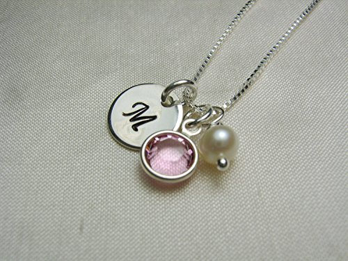 Personalized necklace with birthstone sterling silver initial personalized necklace with birthstone aloadofball Images