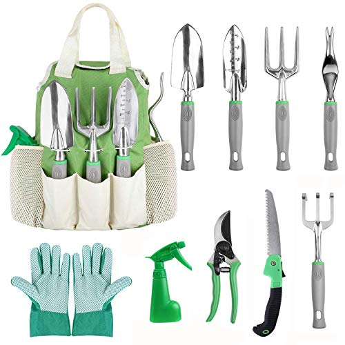 FIXKIT Garden Tool Set, 10 Piece Aluminum Hand Tool Kit, Garden Planting Canvas Tote, Heavy Duty Gardening Tools for Women Men