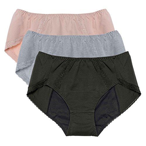 Intimate Portal Women Tweens Leak Proof Incontinence Briefs Period Menstrual Panties 3-pk Gray Black Beige L