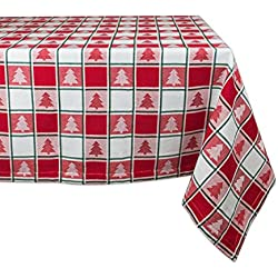 "Christmas & Holiday Tablecloth, 60x84"" , Red & White Check with Christmas Tree, Seats 6 8 People"