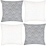 Woven Nook Decorative Throw Pillow Covers ONLY for Couch, Sofa, or Bed Set of 4 18 x 18 inch Modern Quality Design 100% Cotton Stripes Geometric mud Cloth Brixton Set