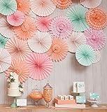 """SANNIX Vintage Collection Hanging Tissue Paper Fan Party Decoration 12"""" Various Sizes 6 PCs Peach"""