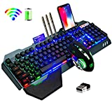 Wireless Keyboard and Mouse,Rainbow LED Backlit Rechargeable Keyboard Mouse with 3800mAh Battery Metal Panel,Removable Hand Rest Mechanical Feel Keyboard and 7 Color Gaming Mute Mouse for PC Gamers