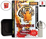 Tigerex 15000 (3 Caps) Male Performance, Energy, Enhancement, and Endurance Bundle with Accessories (6 Items)