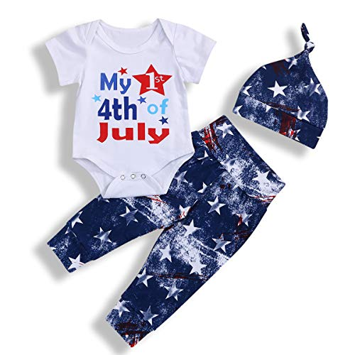 Baby Boys Girls Outfits My First 4th of July Short Sleeve Romper +American Flag Pants + Hat Clothes Set Summer (White#1, 6-12 Months)