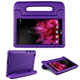 SIMPLEWAY LG G Pad X 8.0 Kids Case, Only Fit at&T V520 / T-Mobile V521 Tablet, Carry Handle Child Stand Holder Shockproof Protective Cover Case Compatible with LG 8 Inch G Pad, Purple