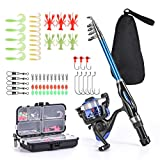 Leo Light Weight Kids Fishing Pole Telescopic Fishing Rod and Reel Combos with Full Kits Lure Case and Carry Bag for Youth Fishing and Beginner 130CM (Rod and Reel Combos with Full Kits and Carry Bag)
