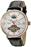 Lucien Piccard Men's 'Babylon' Automatic Stainless Steel and Black Leather Casual Watch (Model: LP-15040-02S-RB)