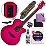 Dean Axcess Performer Acoustic Electric Guitar, Pink Burst with Accessory Bundle