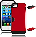 Bastex Heavy Duty Hybrid Case for Apple iPhone 5, 5S, 5G - Coal Black Silicone Cover with Glossy Red Hard Shell With Credit Card Wallet Slot