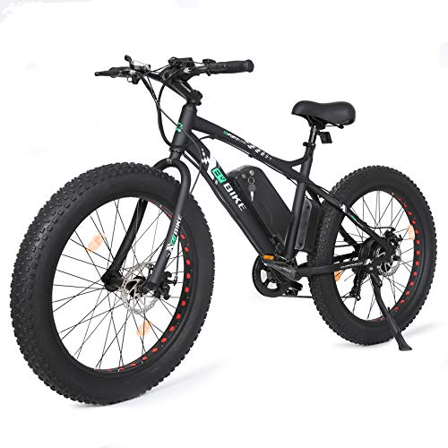 "ECOTRIC 26"" Electric Fat Tire Bike Aluminum Frame Beach Snow Bicycle ebike 500w 36V/10Ah Electric Moped (Black)"