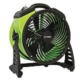XPOWER FC-200 Heavy Duty Whole Room Air Circulator Fan, Carpet Dryer, Floor Fan, Blower - 13' Diameter Multipurpose Shop Fan- Green