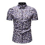 JJLIKER Men's Slim Fit Short Sleeve Polo Shirt Floral Printed Casual Hawaiian Aloha Casual Vintage Button Down Tee Gray