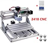 3 Axis DIY Mini 2418 Desktop Small CNC Router Kit Engraver Engraving Milling Pcb Pvc Wood Cutting Carving Laser Machine GRBL Control (24x18x4.0cm)