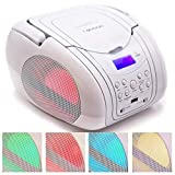 Lauson CP556 Boombox with Cd Player Mp3 | Portable Radio CD-Player Stereo with USB | Cd Player for Kids | LED Light | Headphone Jack (3.5mm) White