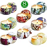 YIIA Scented Candles Gift Set -Lemon, Lavender, Mediterranean Fig,Bergamot,Vanilla,Jasmine,Rose and Spring, Candle Soy Wax for Stress Relief and Aromatherapy, Candles - 8 Pack