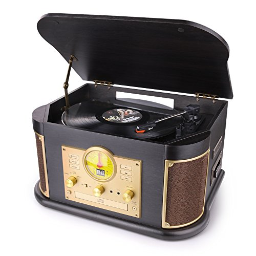 D&L Vintage Record Player Wooden 7-in-1 Bluetooth Phonograph with Built-in Stereo Speakers, CD/Cassette Player, FM Radio, USB/SD Play & Encoding,Turntable for Vinyl Records
