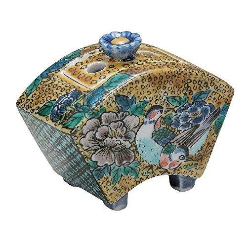 Jpanese traditional ceramic Kutani ware. Incense burner Koro. Yoshidaya flower and bird. With wooden box. ktn-K5-1445