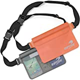 Waterproof Fanny Pack Pouch (2 Pack) For Men & Women Dry Bag Water Resistant With Adjustable Waist Strap -Protects Valuables At Water Sports Boating Swimming Skiing Orange & Sheer Black - By Riptide