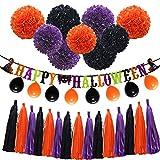 Halloween Orange Purple Black Party Decorations, 'Happy Halloween' Banner, Balloons, Tissue Paper pom poms Flowers, Tassel DIY Party Garland, Birthday Party, Baby Shower, Festival