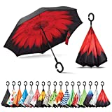 Sharpty Inverted Umbrella, Umbrella Windproof, Reverse Umbrella, Umbrellas for Women with UV Protection, Upside Down Umbrella with C-Shaped Handle (Red Flower)