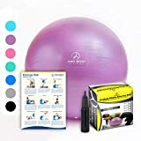 Exercise Ball - Professional Grade Anti-Burst Fitness, Balance Ball for Pilates, Yoga, Birthing, Stability Gym Workout Training and Physical Therapy (Purple, 55 cm)