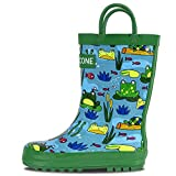 LONECONE Rain Boots with Easy-On Handles in Fun Patterns for Toddlers and Kids, Frog Pond, 4 Toddler
