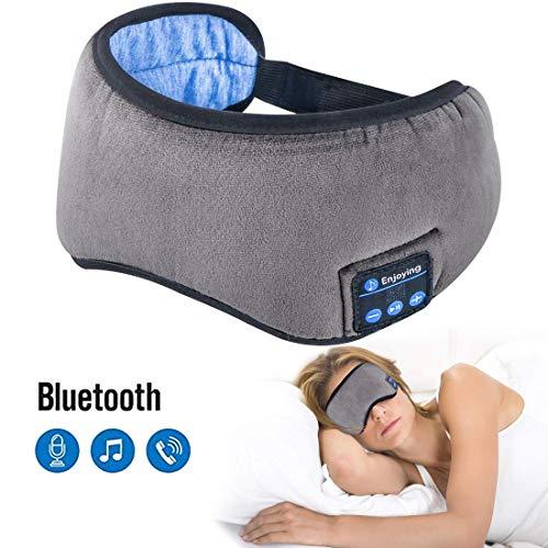 Sleep Headphones Bluetooth Wireless Eye Mask - Homder Headphones Travel Sleeping Headband Built-in Speakers Microphone Handsfree Adjustable Washable (Grey)
