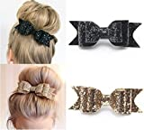 Fireboomoon 2 Pack Glitter Satin Big Bow Hair Clip, Hair Bows Boutique Barrette Bling Sparkly Glitter Sequins Accessory For Girls And Women (Gold and Black) hair bows for women,black hair bow