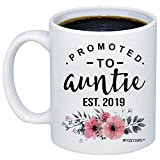 MyCozyCups Baby Reveal Gift for Sister - Promoted to Auntie 2019 Coffee Mug - New Mommy to Be Newborn Gift Idea for Best Friends - New Parents Pregnancy Suprise Announcement Photo Prop Cup for Her