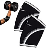 Compression Elbow Sleeves(Pair), 5mm Neoprene,Perfect Support for Crossfit,Weightlifting,Powerlifting,Tennis, Golf & Basketball (Large, Black)