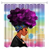 Women Black shower curtain,ZBLX African Women with Purple Hair Hairstyle- Waterproof Mildew Resistant Fabric Polyester 100% Shower Curtain.