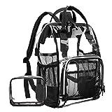 LOKASS Large Clear BackpackTransparent Multi-Pockets Backpacks/Outdoor Backpack Fit 15.6 Inch Laptop Safety Travel Rucksack with Black Trim-Adjustable Straps & Mesh Side(Black)