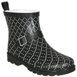 Capelli New York Ladies Dotted Diamond Printed Short Sporty Lined Rainboot Black Combo 10