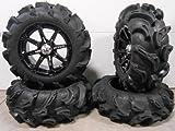 Bundle - 9 Items: MSA Black Diesel 14' ATV Wheels 27' Mega Mayhem Tires [4x156 Bolt Pattern 3/8x24 Lug Kit]