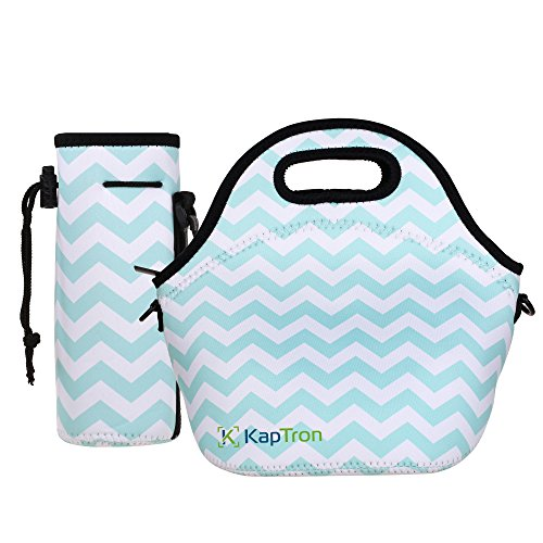 Kaptron Neoprene Lunch Bag Thick Insulated Tote Box With Shoulder Straps And Bottle Holder Cover For Adults Women Girls School Children