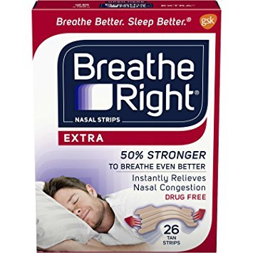 Breathe Right Extra Strength Nasal Strips for Drug-Free Congestion Relief, Tan, 26 count - Pack of 3