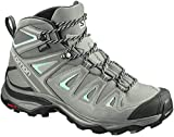 SALOMON X ULTRA 3 MID GTX WOMEN'S HIKING BOOTS SHADOW/CASTOR GREY/BEACH GLASS SZ 8.5