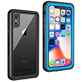 iPhone Xs/X Waterproof case (Blue), Lanwow Case with Screen Protector Support Wireless Charging Shockproof Dirt-Proof Rugged Waterproof Case for iPhone Xs/X