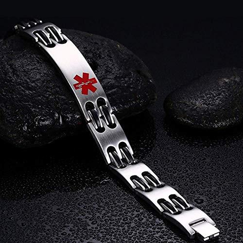 Lam Hub Fong Free Engrave Adjustable Medical Bracelets Mens Emergency ID Bracelets for Women Kids Titanium Steel Medical Alert Bracelets deal 50% off 51TROCsF 2BsL