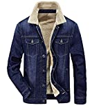 Zicac Men's Fleeced Denim Jacket Winter Fall Warm Cowboy Coat Outerwear Parka (XL, Blue)