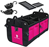 TrunkCratePro Premium Multi Compartments Collapsible Portable Trunk Organizer for auto, SUV, Truck, Minivan (pink)