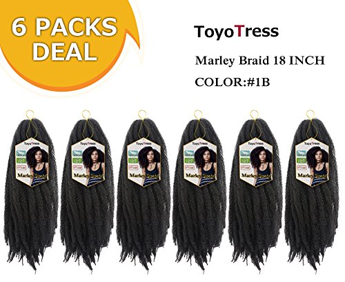 ToyoTress 6 Packs 18inch Marley Braid Hair Long Afro Malrey Twist Braiding Hair 100% Kanekalon Synthetic Marley Braids Crochet Braiding Hair Bulk (18', 1B)