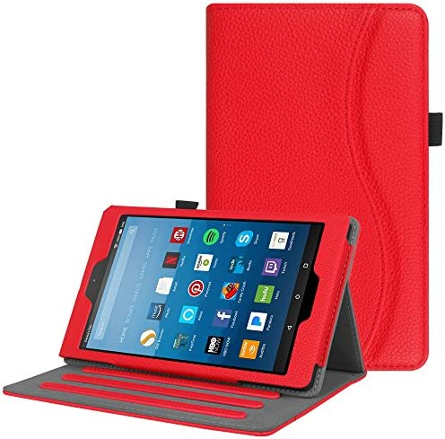 Fintie Case for All-New Amazon Fire HD 8 Tablet (7th and 8th Generation Tablets, 2017 and 2018 Releases) – [Multi-Angle Viewing] Folio Stand Cover with Pocket Auto Wake/Sleep, Red