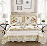 Twin/Twin Extra Long 2pc Over Size Quilted Bedspread Set Reversible Floral White Lavender Green Pink New