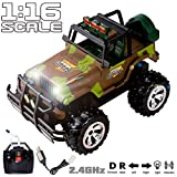 RC Cars 1 16 Scale Super Duty Radio Remote Control Battery Operated Jeep Vehicle Powerful Off Road Cross Country RC Toy SUV Car with Lights and Sounds, Great Gift for Kids, Army Green